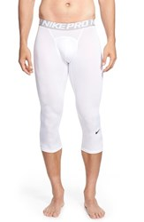 Nike Men's 'Pro Cool Compression' Four Way Stretch Dri Fit Three Quarter Tights White Matte Silver Black