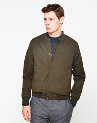The Idle Man Baseball Style Bomber Jacket Green