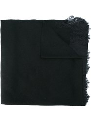 Ermanno Scervino Lace Edges Scarf Women Silk Polyamide Cashmere One Size Black