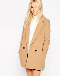 See U Soon Oversized Car Coat With Double Buttons Beige