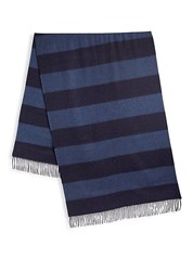 Ralph Lauren Purple Label Stripe Cashmere Fringe Scarf Blue
