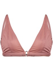 Fleur Du Mal Built Up Triangle Bikini Top Pink And Purple