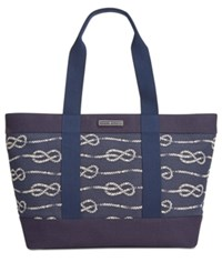 Tommy Hilfiger Daphne Knotted Rope Canvas Tote Navy