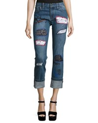 Alice Olivia Hanna Distressed Patchwork Cuffed Jeans Multi Colors
