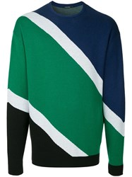 Guild Prime Diagonal Stripes Knit Sweater Multicolour