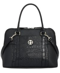Giani Bernini Croc Embossed Saffiano Dome Satchel Created For Macy's Black Black