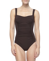 Karla Colletto Ruch Front Underwire One Piece Chocolate