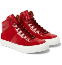 Jimmy Choo Belgravia Patent Leather And Suede High Top Sneakers Red