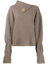 J.W.Anderson Jw Anderson Ribbed Wool And Cashmere Blend Jumper Neutrals