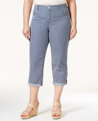 Styleandco. Style And Co. Plus Size Tummy Control Capri Jeans Railroad Stripe