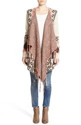 Junior Women's Sun And Shadow Fringe Trim Blanket Cardigan Tan Nantucket Falcon Jacquard