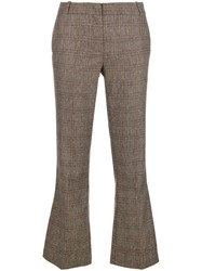 Kiltie Plaid Cropped Tailored Trousers Brown