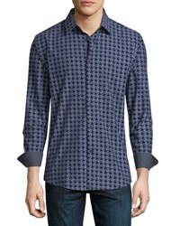 1 Like No Other Houndstooth Flocked Sport Shirt Navy