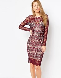 Body Frock Lisa Scuplting Lace Bodycon Dress Burgundy Red