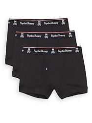 Psycho Bunny Vintage Cotton Boxer Briefs 3 Pack Black