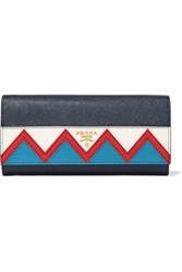 Prada Zig Zag Textured Leather Continental Wallet Navy