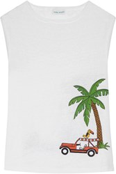 Mira Mikati Embroidered Printed Slub Linen Tank White