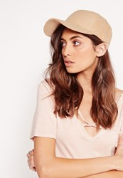 Missguided Faux Suede Baseball Cap Nude Beige