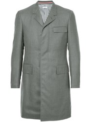 Thom Browne High Armhole Chesterfield Overcoat In Super 120'S Twill Grey
