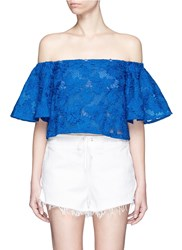 Nicholas Bell Sleeve Embroidery Lace Off Shoulder Cropped Top Blue