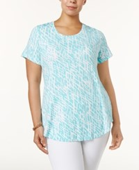 Jm Collection Plus Size Printed Short Sleeve Top Only At Macy's Aqua Dash Deep