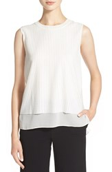 Women's Vince Mesh Overlay Sleeveless Blouse Off White