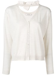 Dorothee Schumacher Knit V Neck Cardigan With Bow Detail White