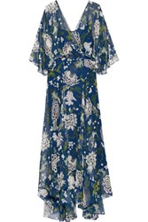 Adam By Adam Lippes Floral Print Silk Chiffon Maxi Dress Blue