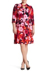 London Times Floral Twist Neck Fit And Flare Dress Plus Size Pink