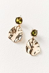 Urban Outfitters Rox Crystal Stud Hammered Drop Statement Earring Gold