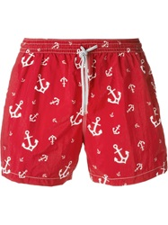 Capricode Anchor Print Swim Shorts Red