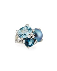 Stephen Dweck Blue Topaz And Mabe Pearl Three Stone Ring Sky
