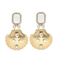 Alessandra Rich Crystal Drop Clip On Earrings Gold