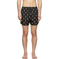 Neil Barrett Black Lightning Bolt Swim Shorts