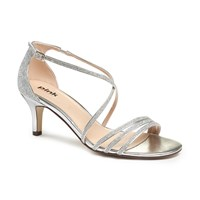 Paradox London Pink Isla Strappy Mid Heel Sandals Silver