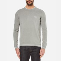 Hugo Boss Green Men's Rime Crew Neck Knitted Jumper Pastel Grey