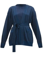 Missoni Belted Metallic Cardigan Navy