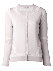 Nina Ricci Button Lace Detail Cardigan Pink And Purple