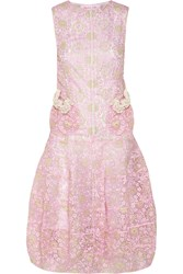 Ryan Lo Metallic Embroidered Organza Dress Pink