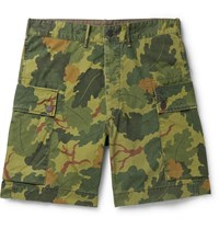 Rrl Camouflage Print Cotton Canvas Cargo Shorts Green