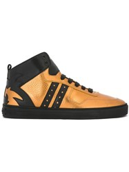 Versace Metallic Hi Top Sneakers Black