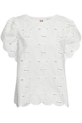 Shrimps Woman Scalloped Broderie Anglaise Cotton Blend Top White