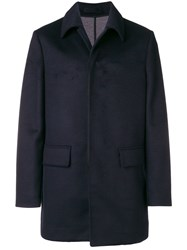 Paolo Pecora Single Breasted Fitted Coat Blue