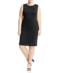 Calvin Klein Plus Rhinestone Scuba Sheath Dress Black