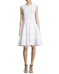 Oscar De La Renta Sleeveless Jewel Neck Button Front Dress White