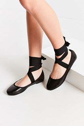 Urban Outfitters Grosgrain Lace Up Ballet Flat Black