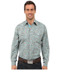 Stetson Modern Paisley Long Sleeve Snap Front Shirt Blue Men's Long Sleeve Button Up