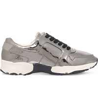 Carvela Lacrosse Leather Trainers Gunmetal