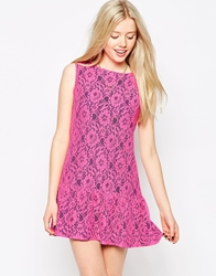 Liquorish Lace Dress With Pep Hem And Contrast Lining Pinkblue