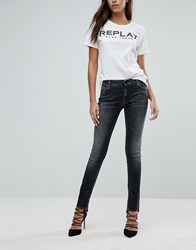 Replay Crop Jean With Step Hem Washed Black Blue